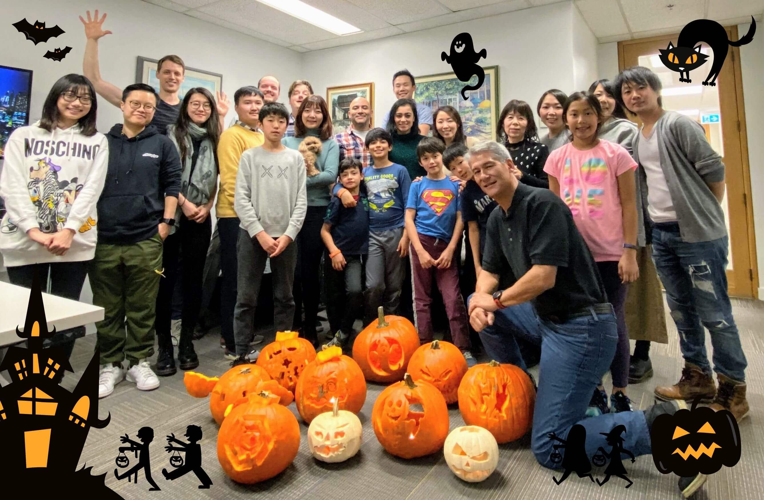 Convergence team and the kids with their pumpkin creations
